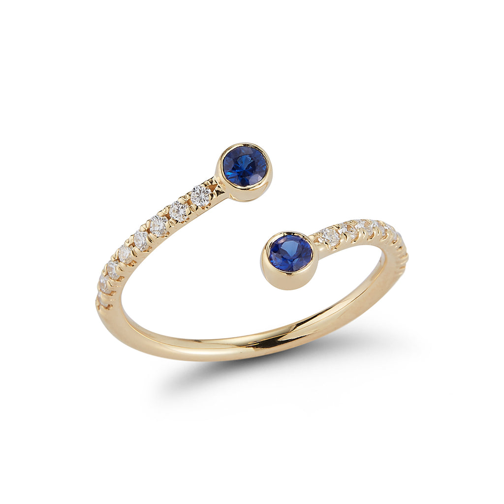 Diamond Wrap Ring with Blue Sapphires & Pave Band