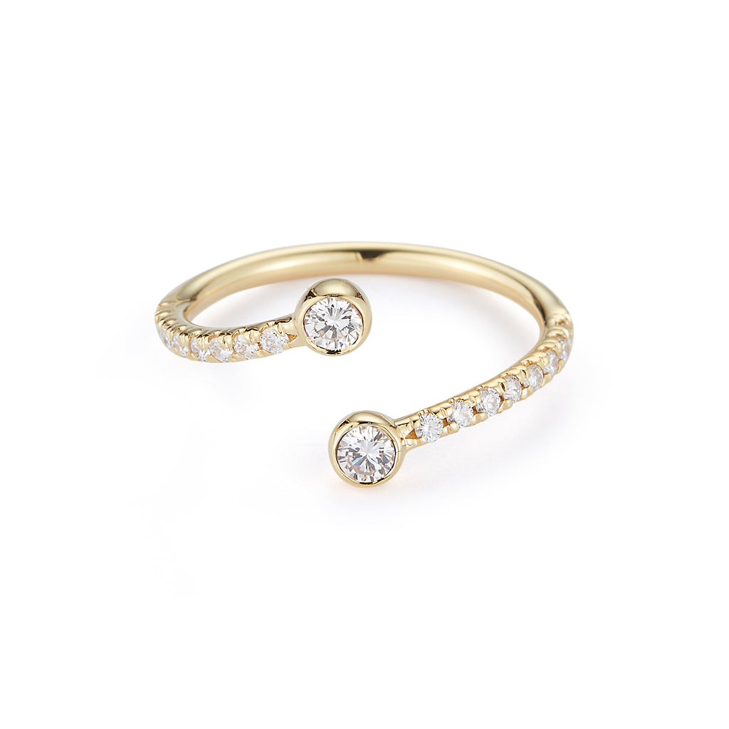 Diamond Wrap Ring with Pave Band