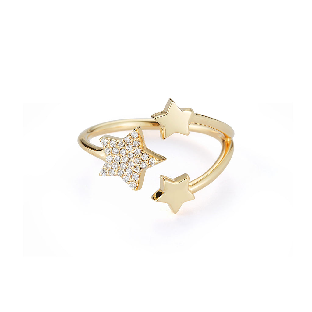 Starburst Ring with Diamond Pave Star