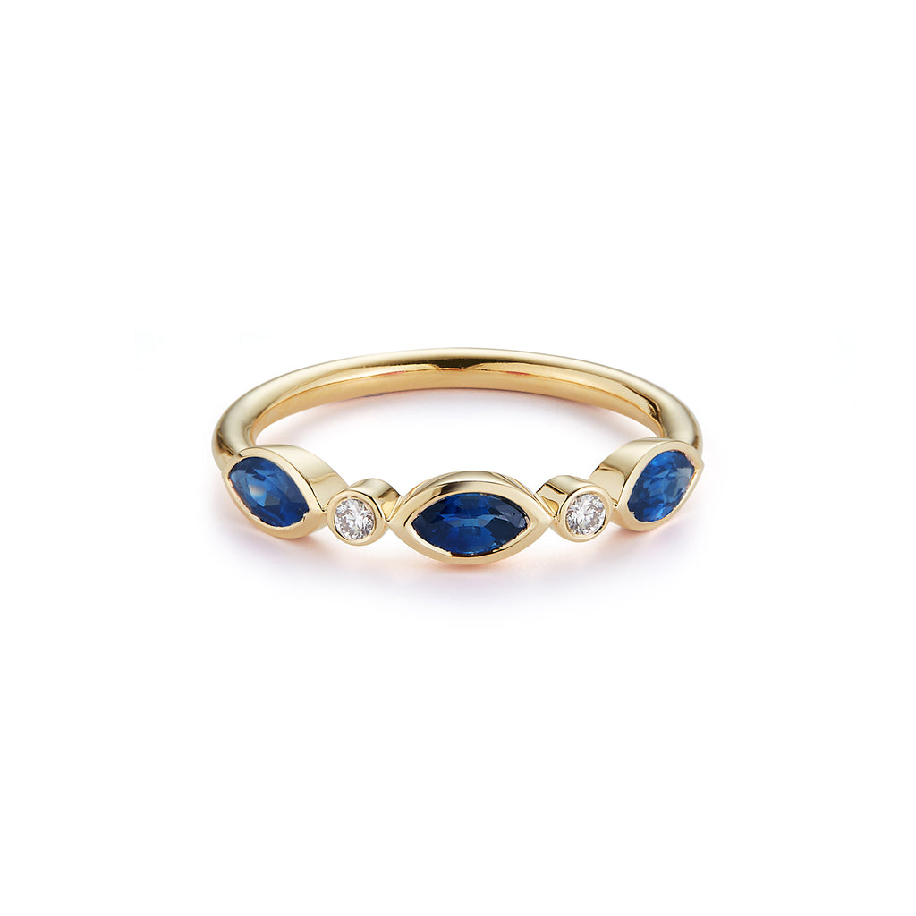 3 Stone Marquise Ring with Diamonds- Blue Sapphire