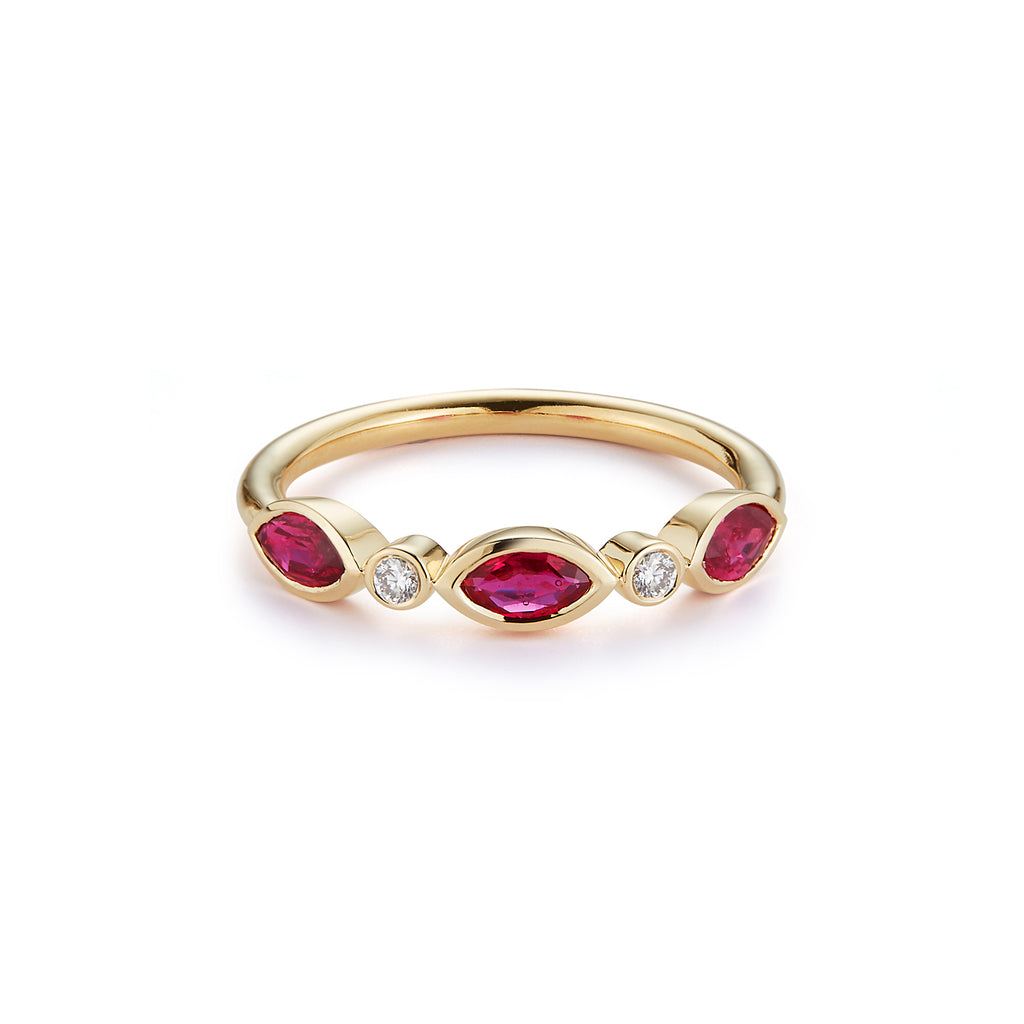 3 Stone Marquise Ring with Diamonds- RUBY