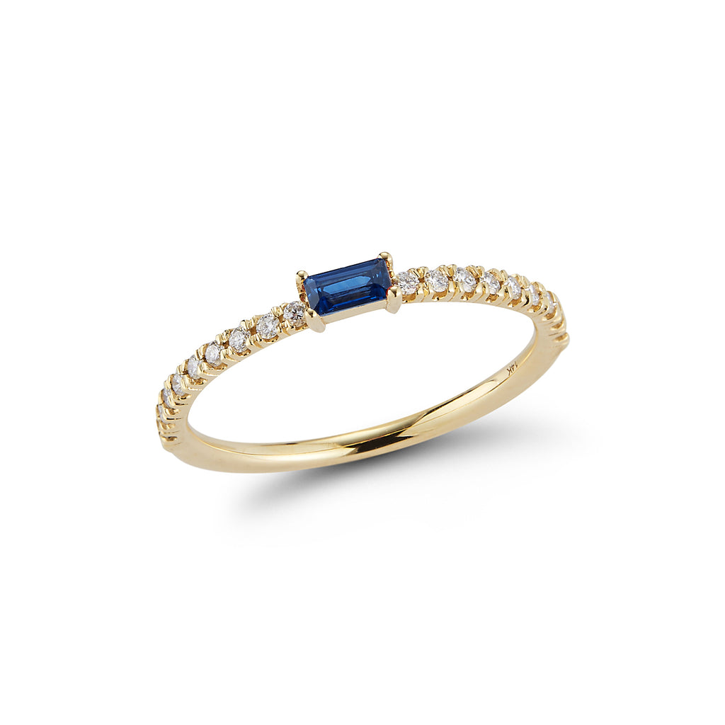Baguette Ring with Diamond Pave Band- Blue Sapphire