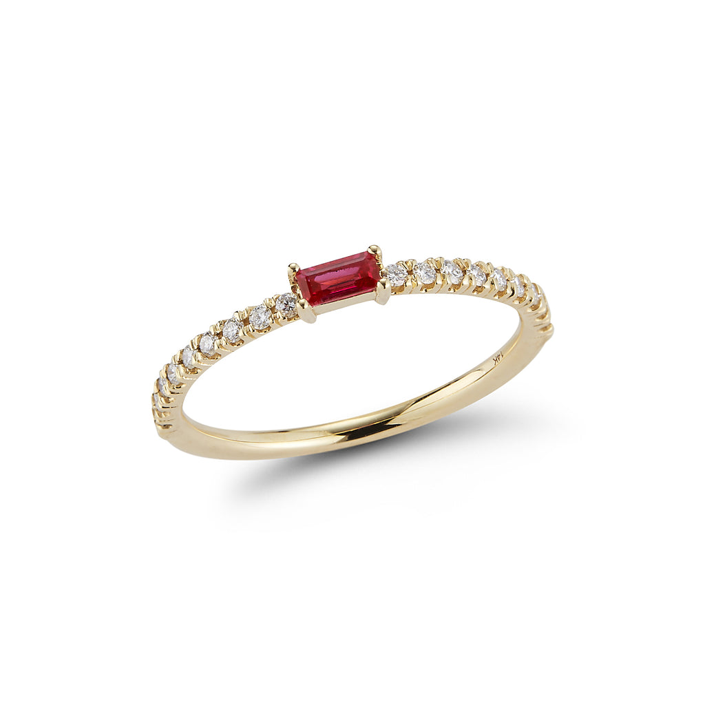 Baguette Ring with Diamond Pave Band- RUBY