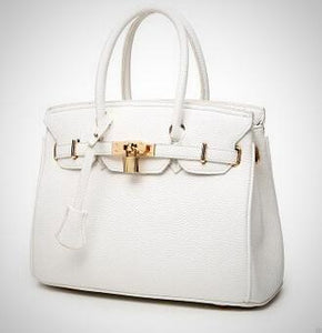 Luxury Lock Rivet Ladies Leather Tote  Bag