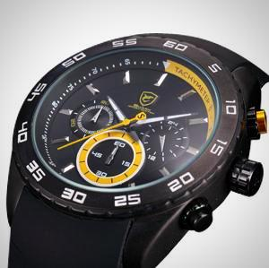 Sport Watch for Men. Chronograph, Silicon Strap.