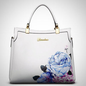 Luxury leather tote bag, flower embossed