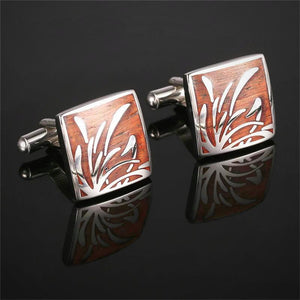 Exquisite Red Wooden Sleeve Button Cufflinks