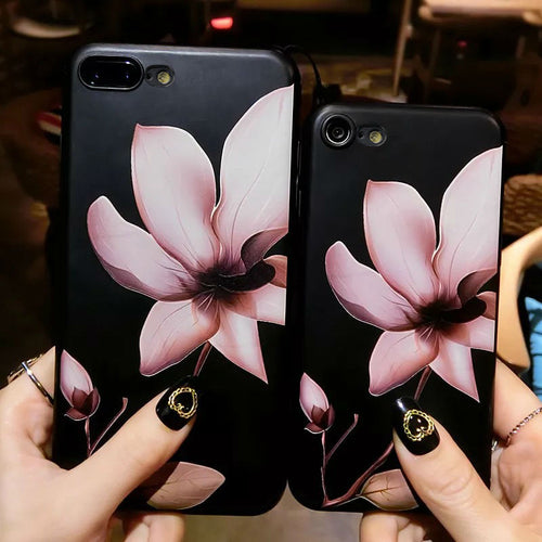 3D White Flower Paint Phone Case For iPhone