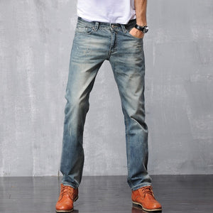 Denim Pants Leisure Blue Straight Jeans, Slim Fit.