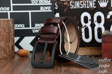 Genuine Leather Belt for Men, black Buckle.