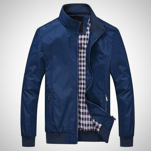 Large Size Mens Zipper Casual Stand Collar Jacket