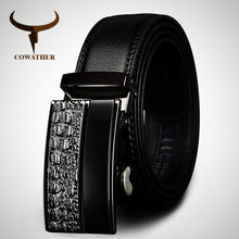 Genuine Leather belt for Men. Metal automatic buckle Strap-
