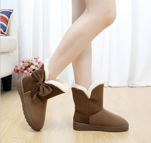 Solid Bowtie Slip-On Soft Cute Women Boots