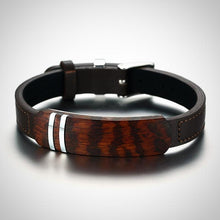 Rosewood and Leather Bracelet for Men.