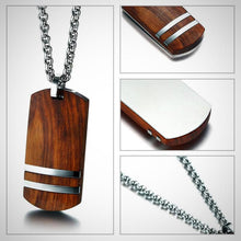 Men's Necklace with Wooden Pendant