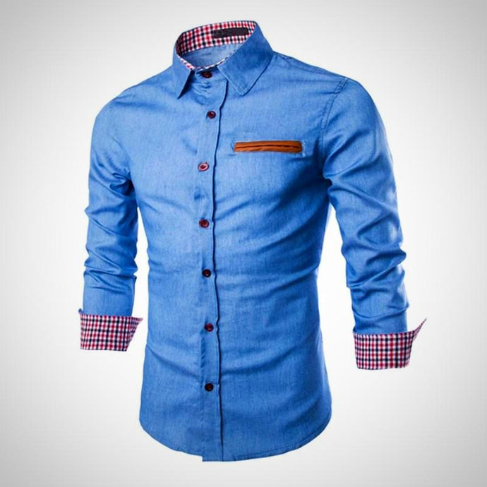 Mens Denim Casual Shirt, Long Sleeve, Lapel Neck, Slim Fit
