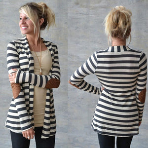 Women's Trench,elegant Long Sleeve Striped Cardigan