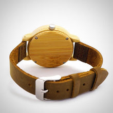 Bamboo Wooden Wristwatch with Genuine Leather Band for Him and Her