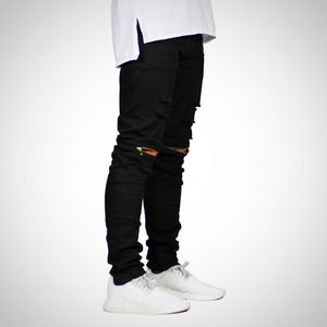 Knee Zipper Stretch Pants, skinny.