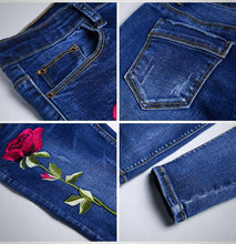 Pencil Denim Pants with Rose Pattern