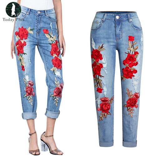 Plus Size Stretchy Ripped Jeans With Scuffs 3D Embroidery Flowers