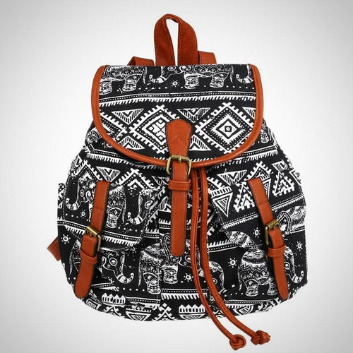 Women Drawstring Canvas Backpack with Elephant print