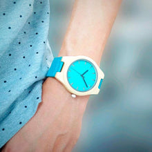 Bobo Bird Handmade Bamboo Watch, with Blue Genuine Leather Strap
