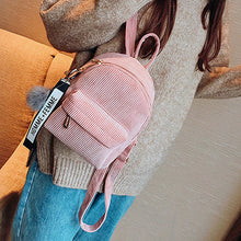 Cute Corduroy Mini Backpack with Furrball