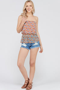 Floral Printed Strapless Top