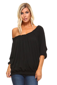 Peasant Top with Elastic Neckline