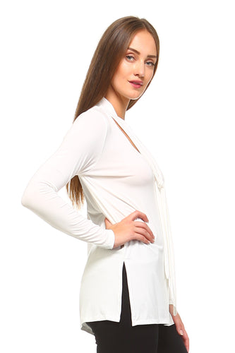 Long Sleeve V-Neck Tie Top