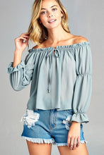 Off Shoulder Top, puff long sleeve,ruffled front Tie