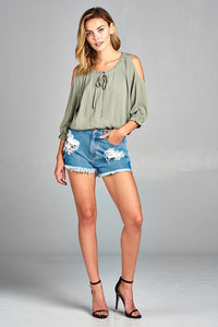 Three Quarter Cold Shoulder Top