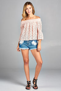 Off Shoulder Floral Lace Top