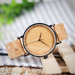 BOBO BIRD Wooden Dial Watch with Cork Strap