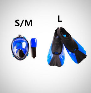 180 Degree Wide View Snorkeling Mask  Swimming Fins Set