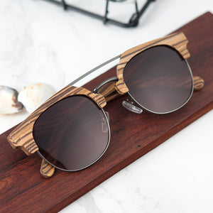 Unisex  Sunglasses, Polarized, Wood and metal combination.