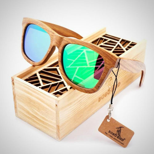 Men's wooden Bamboo polarized sunglasses, In Gift Box