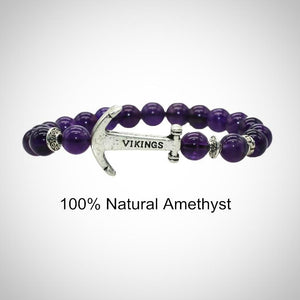 8mm Anchor Bracelet, Lava Stone, Amethyst, Smokey Quartz and Agate Beads