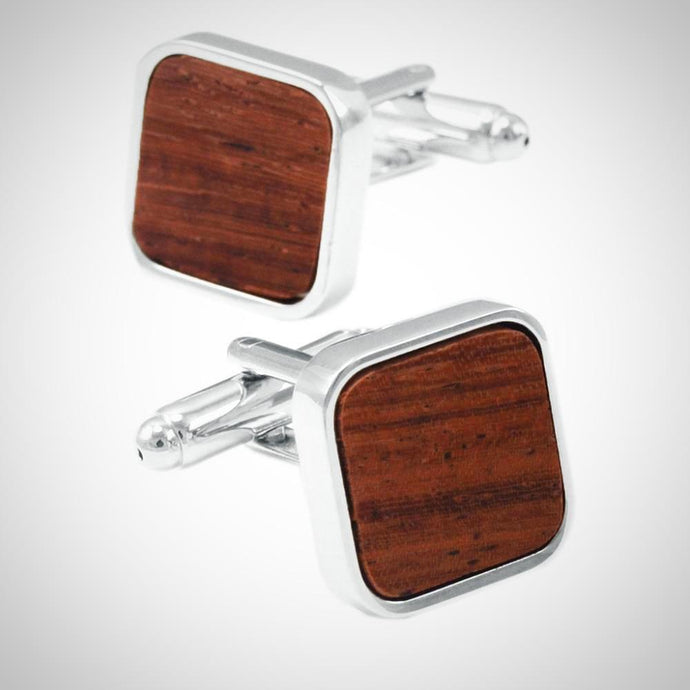 Square Brown wood Mashup Cuff Links With Gift Box