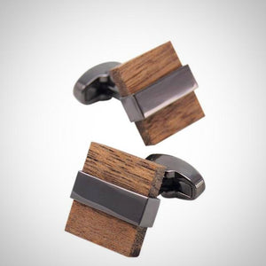 Square Wood Cufflinks With Gift Box