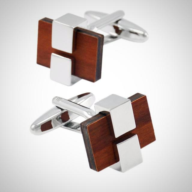 Designer Vintage Square Wood Cufflinks With Gift Box