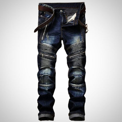Stonewashed Multi Zipper Denim Jeans for Men