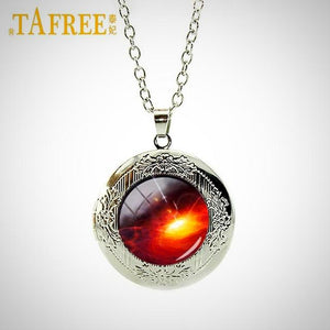 Solar System Locket Necklace, Universe in a Glass Dome.
