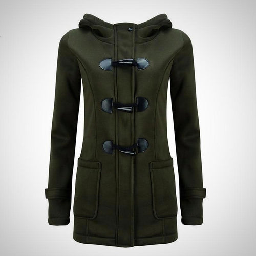 Women Parkas with Pockets and Horn Buttons