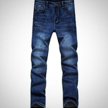 Male Business Autumn Winter Denim Pants, Stretch Slim Jeans