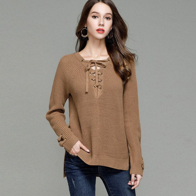 Eyelet Lace-Up Front Women Knit Jumper