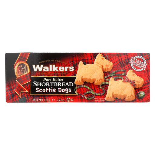Walkers Shortbread - Pure Butter, Scottie Dogs - Case of 12 - 3.9 oz.