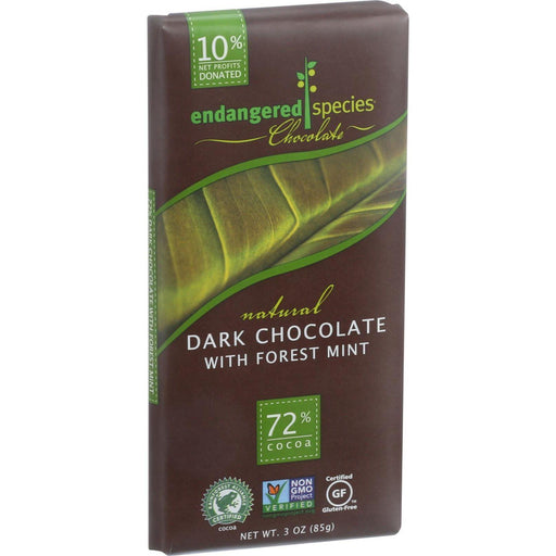 Endangered Species Natural Chocolate Bars - Dark Chocolate - 72 Percent Cocoa - Forest Mint - 3 Oz Bars - Case Of 12