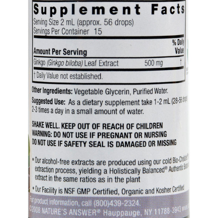 Nature's Answer Ginkgo Leaf Alcohol Free - 1 Fl Oz